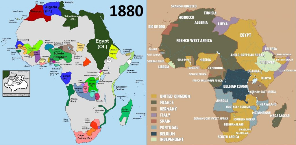 Left: Africa in 1880. Right: Colonial Africa On The Eve of World War I.