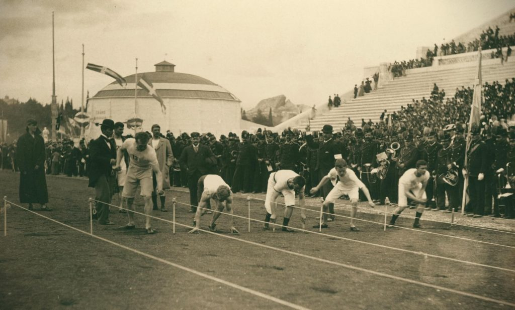 Meyer Albert, Olympic Games, preparation for the 100-meter race, photograph, 1896, Olympics