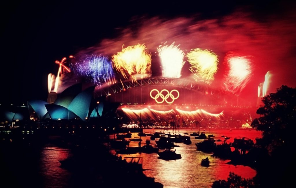 Olympic colors on the Sydney Harbour Bridge, closing ceremony, 2000, Olympics