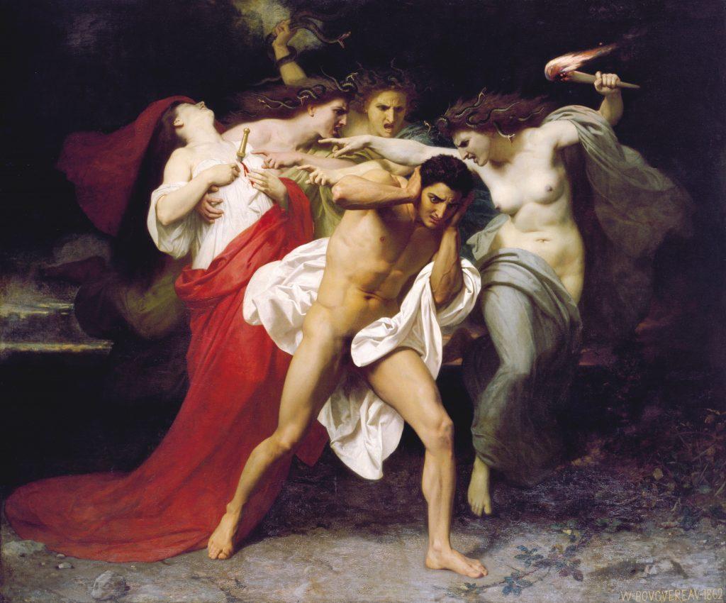 oresteia: Adolphe William Bouguereau, Orestes Pursued by the Furies, 1862, Chrysler Museum, Norfolk, VA, USA.