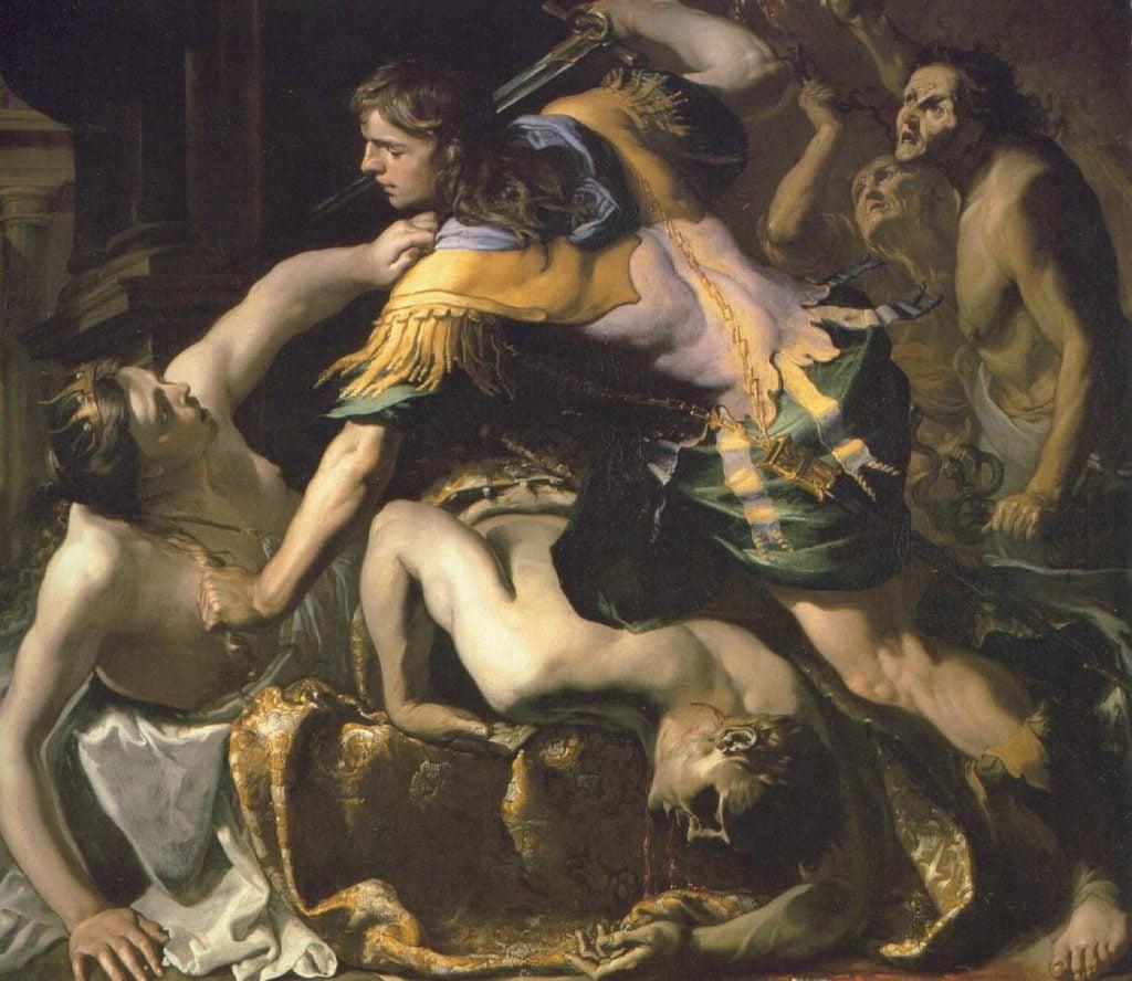 Oresteia: Bernardino Mei, Orestes Slaying Clytemnestra, 1655, private collection.