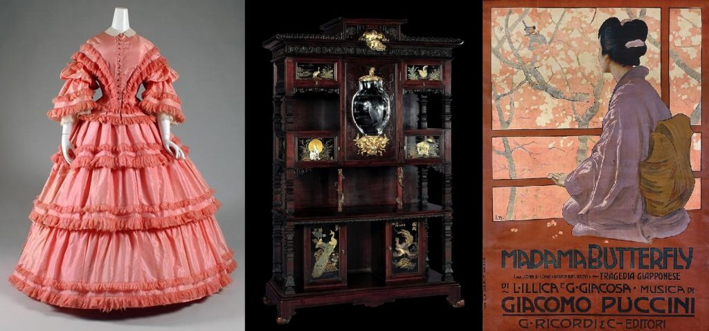 From left to right: Pagoda dress, Recollections; Gabriel Viardot, Display Cabinet, ca. 1895, Corning Museum of Glass, New York, NY, USA; Leopoldo Metlicovitz, Poster for Madama Butterfly by Giacomo Puccini, 1904, library and archive of the Museo Teatrale alla Scala, Milan, Italy.