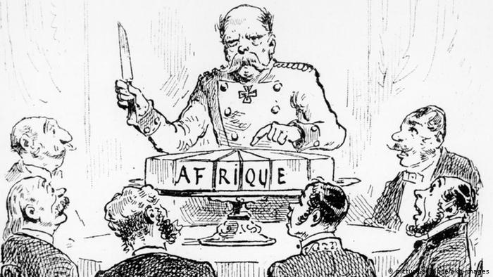 German chancellor Bismarck divides the African continent among the colonial powers, 1885.