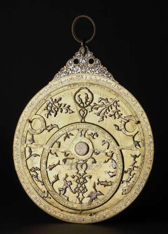 Islamic art: Abd al-Karim al-Misri, Astrolabe, brass, inlaid with silver and copper, 1241-2, British Museum, London, UK.