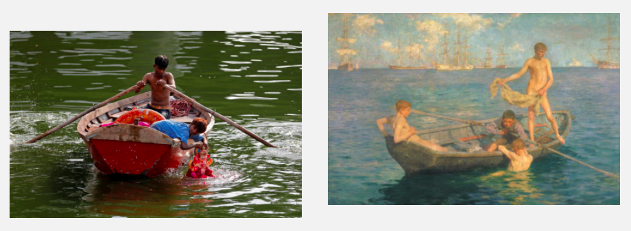 (Left) A photo of a boy on a boat in the Sabarmati River in India. Photo by Amit Dave/Reuters; (Right) Henry Scott Tuke, August Blue,1893-94, Tate Britain, London, UK.