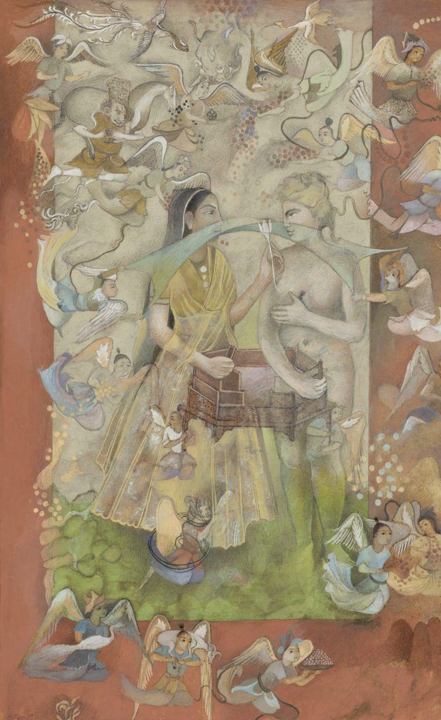 Shahzia Sikander, Sly Offering, 2001, vegetable color, dry pigment, watercolor, inkjet outline and tea on wasli paper, Sean Kelly Gallery, New York, NY, USA.