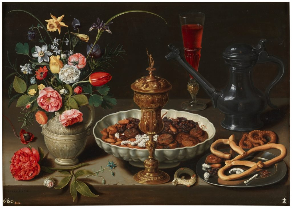 Clara Peeters, Still Life with Flowers, a Silver-gilt Goblet, Dried Fruit, Sweetmeats, Breadsticks, Wine and a Pewter Pitcher, 1611, The Prado Museum, Madrid, Spain