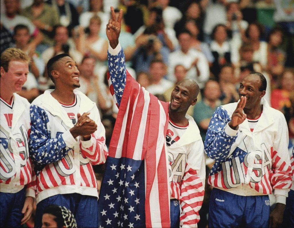 The Dream Team celebrates at the Olympic Games, 1992, Olympics