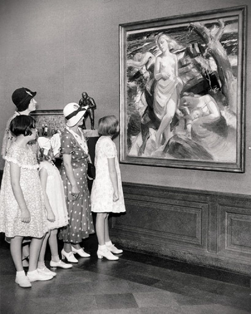 The viewing of At the Seaside of Arild, Olympic Art Competitions in Painting, Los Angeles, 1932, Olympics