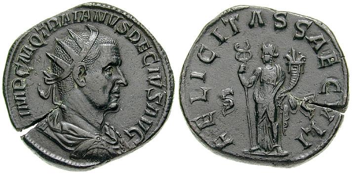 Coins with Emperor Trajan Decius and a personification of Felicitas.