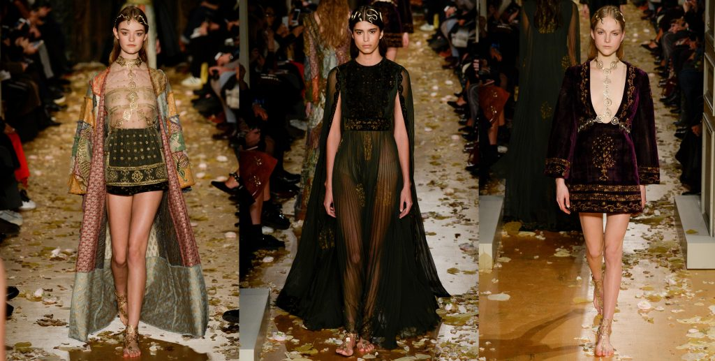Photographs of three looks inspired by Byzantine Art, presented on Valentino fashion show in spring 2016. Right: sheer short dress with a black skirt and long cape, black gown wit a cape centre), shorst, long sleeved dress in purple velvet with golden embroideries