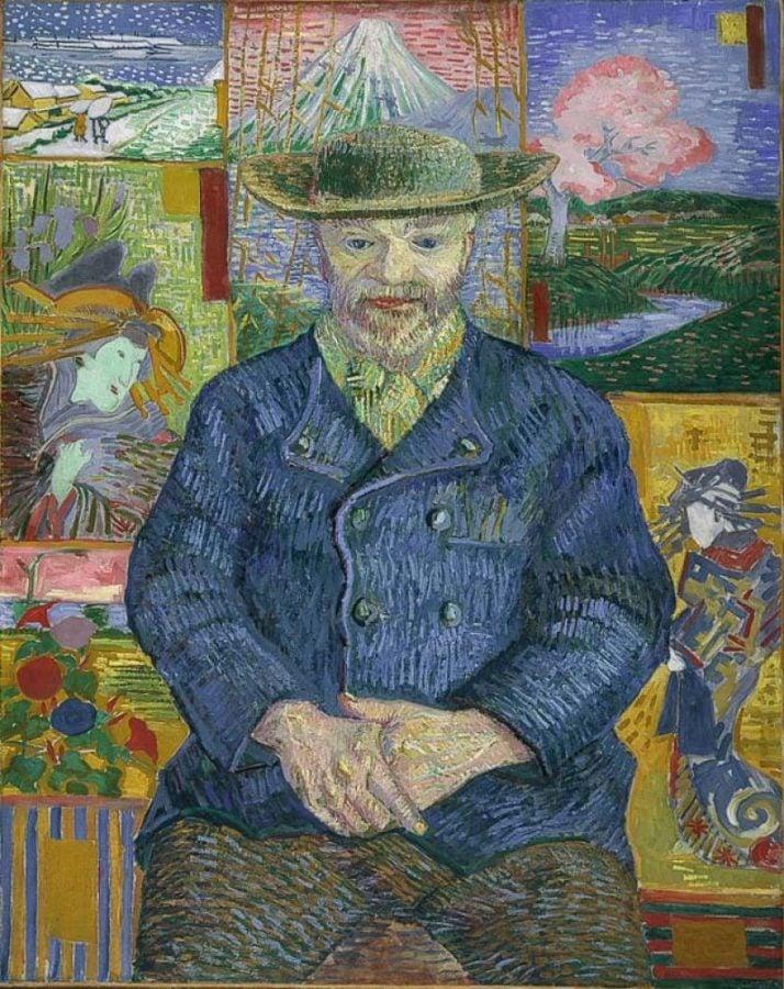 Japonisme. Vincent van Gogh, 1887, Portrait of Père Tanguy, Musée Rodin, Paris, France.