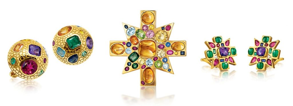 Verdura Byzantine collection jewelry: pair of earrings, cross broach,  cross earrings. All of the pieces are inspired by Byzantine Art and jewelry from Ravenna mosaics.