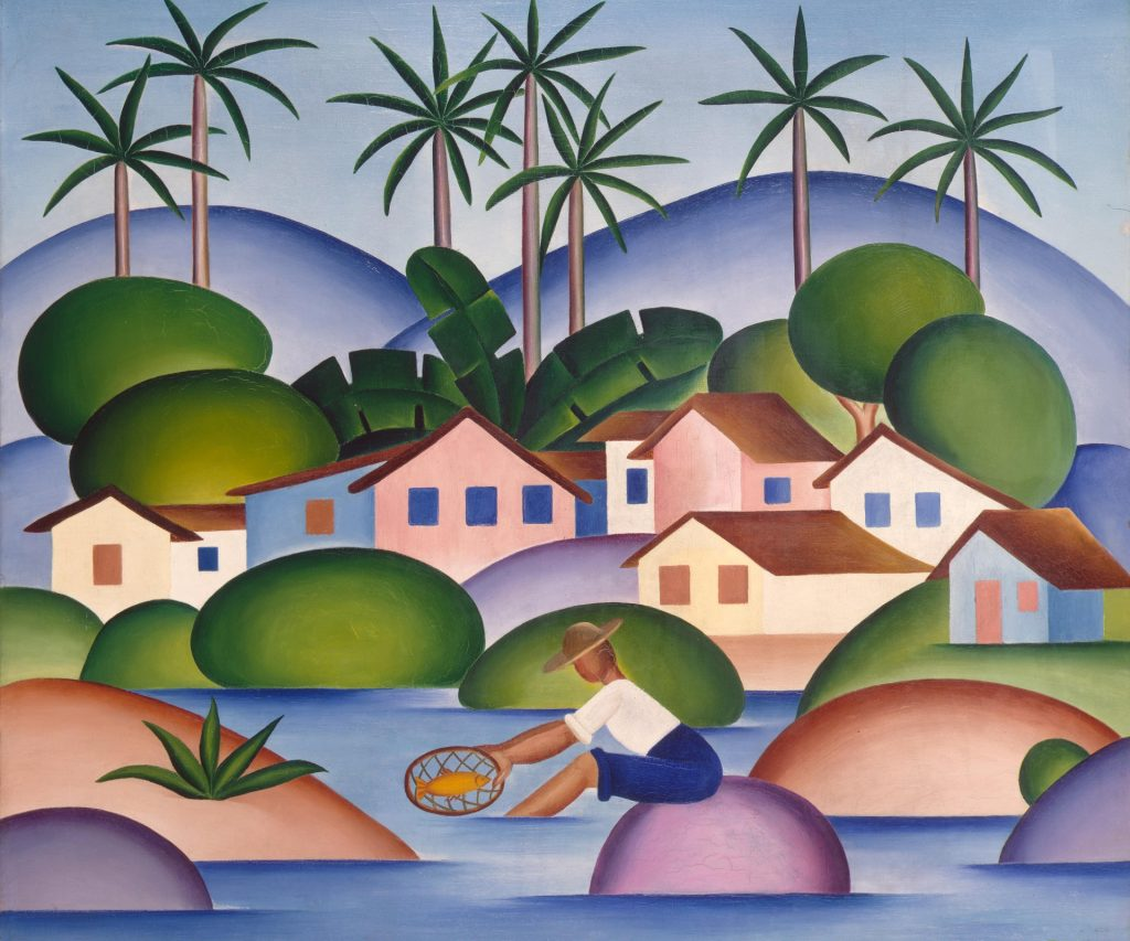 Modernism in Brazil: Tarsila do Amaral, An Angler, c. 1920s, oil on canvas, Hermitage Museum, Saint Petersburg, Russia.