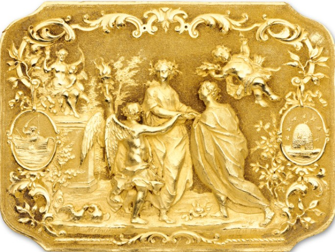 Philippe Metayer, Epithalamion, rare and important wedding plaque.
