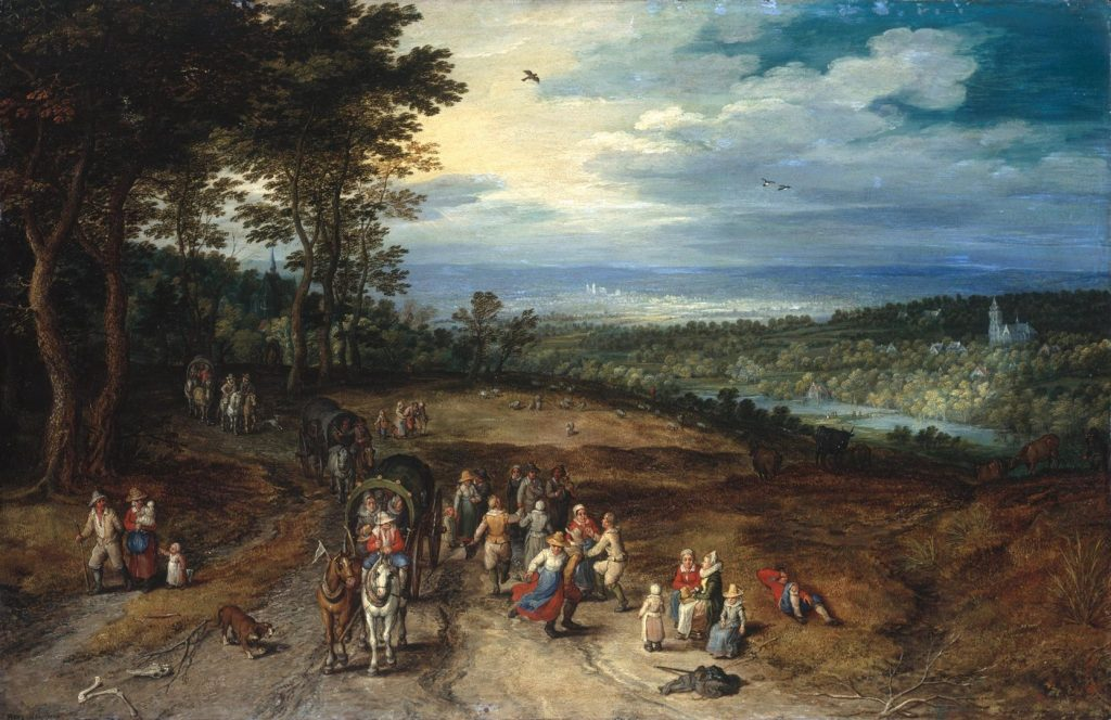 Roma, Jan Breughel the Elder, Landscape with travellers and peasants on a track, 1610,