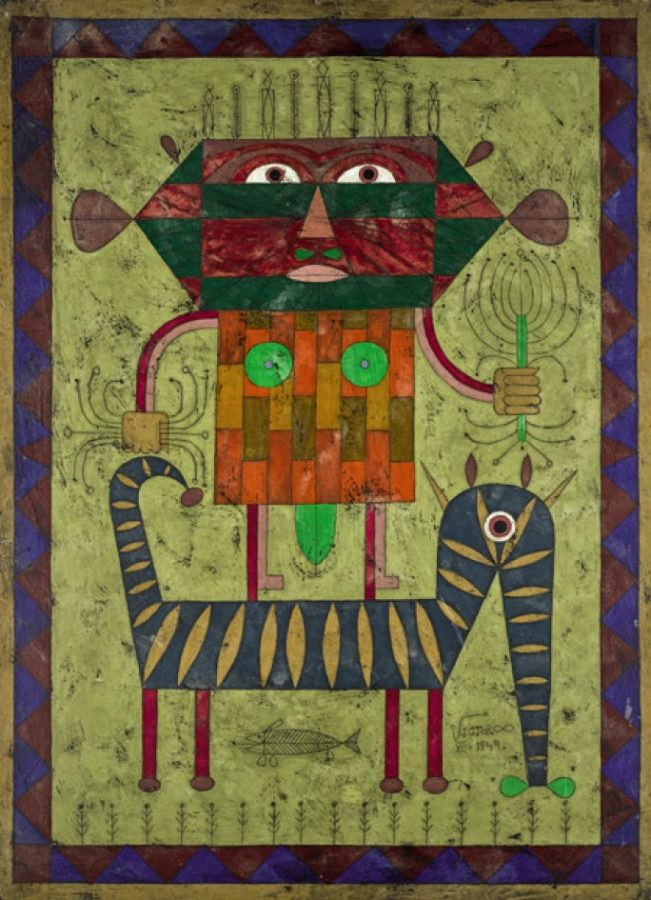 Victor Brauner, Polarisation, 1949, wax encaustic and pen and ink on board.