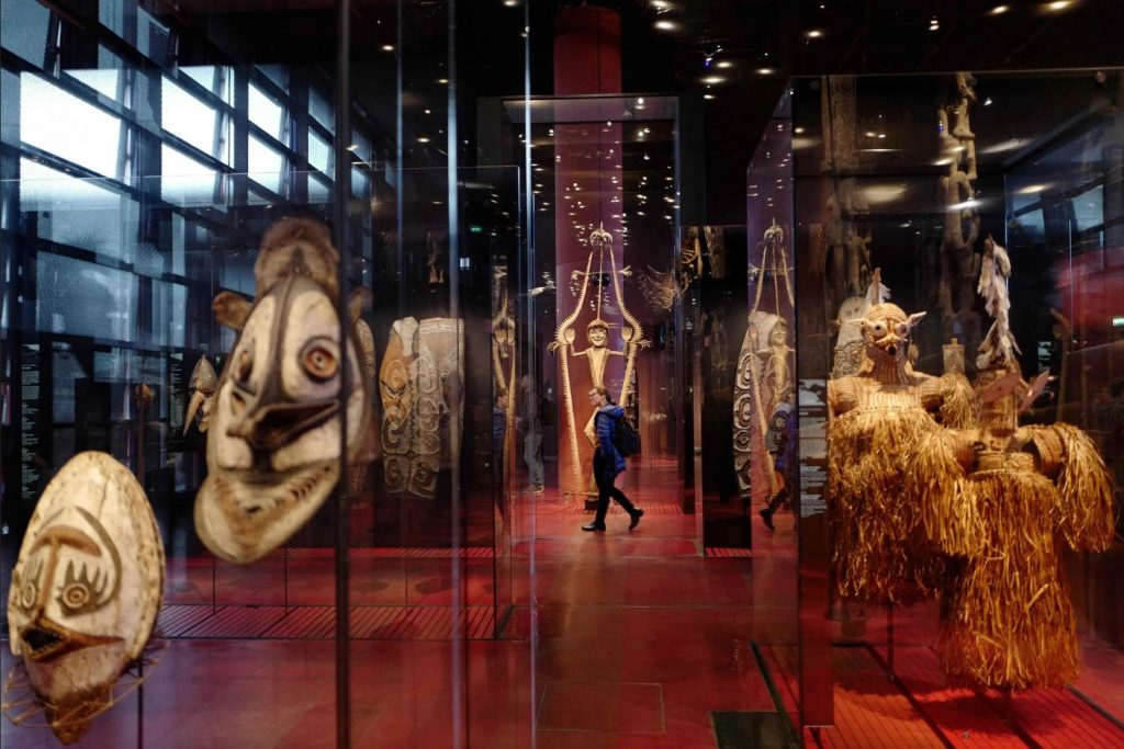 Colonial looting. Objects on display in Paris at the Quai Branly Museum. Photo by Ludovic Marin/Agence France-Presse.