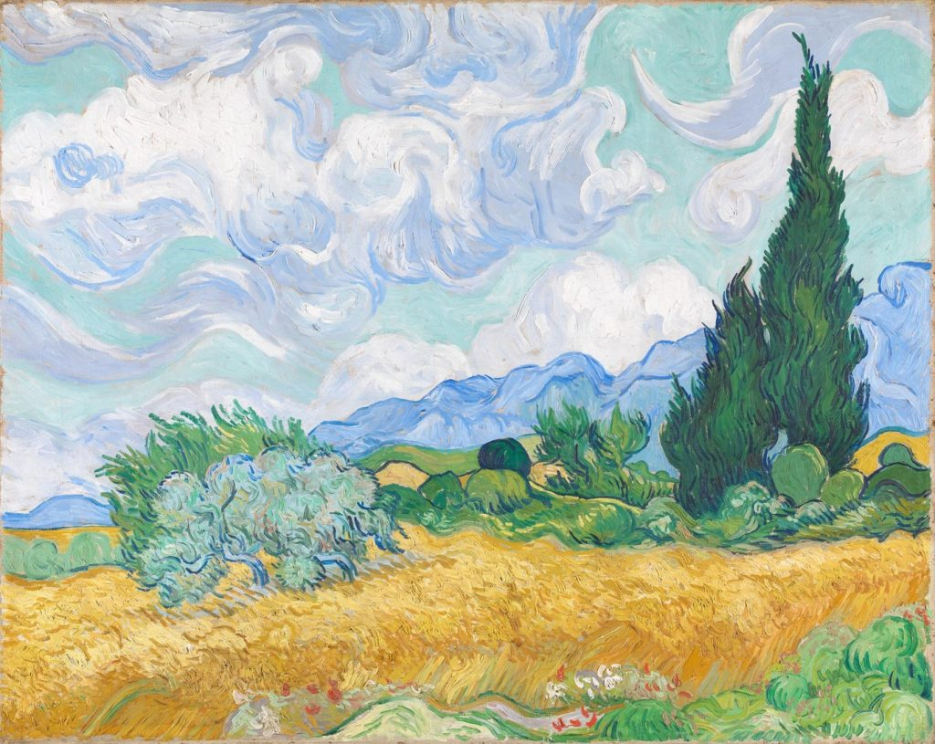 sunshine paintings: Vincent Van Gogh, A Wheatfield, with Cypresses, 1889, National Gallery, London, UK.