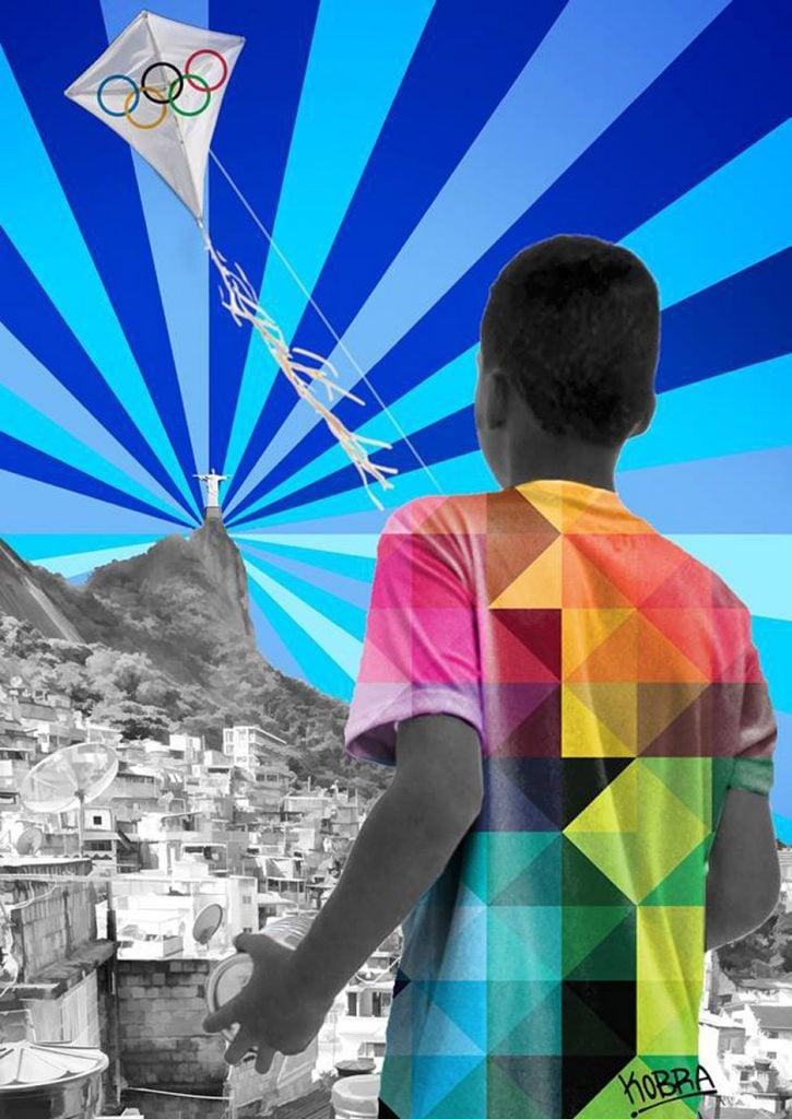 Eduardo Kobra, Child flying a kite above the Rio favelas, Poster for the Rio de Janeiro 2016 Olympics.