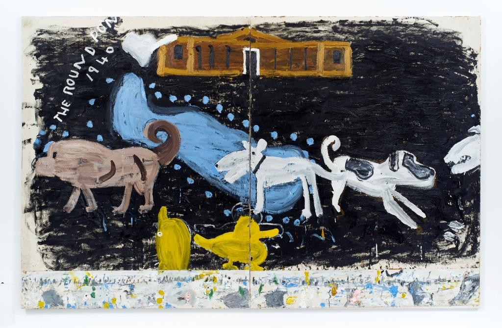 Rose Wylie, Park Dogs and Air Raid, 2017, private collection, Newlyn Art Gallery, Newlyn, UK.
