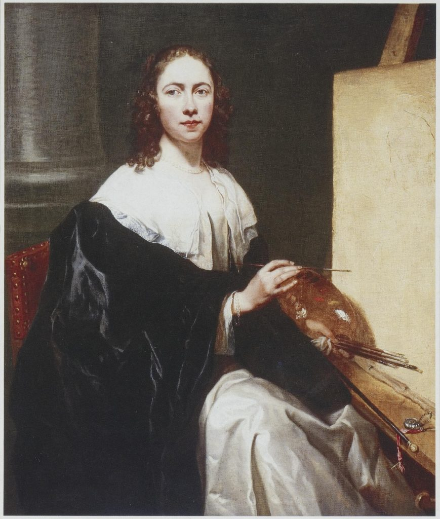 Michaelina Wautier: Michaelina Wautier, Self-portrait with easel, c. 1640s, oil on canvas, 120 x 102 cm, private collection.