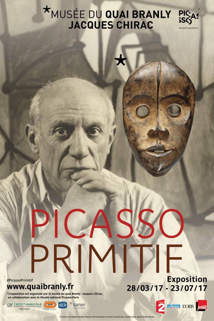 Promotional poster for Picasso Primitif, 2017, Musée du quai Branly – Jacques Chirac, Paris, France.