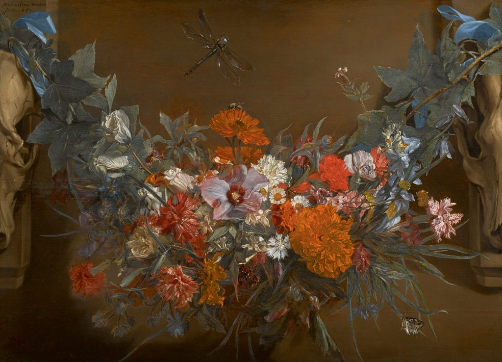 Michaelina Wautier: Michaelina Wautier, A garland of flowers, suspended between two animal skulls, a dragonfly above, 1652, oil on panel, 41.1 x 57.4 cm.