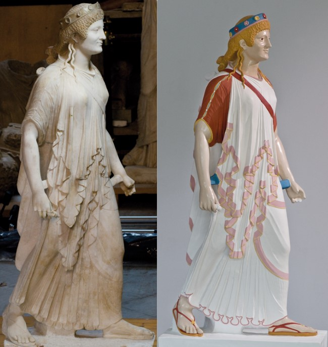 ancient sculptures colors. Artemis from Pompeii, 1st century BCE to 1st century CE, National Archaeological Museum, Naples, Italy. Ulrike Koch-Brinkmann, Bertram Schüler, Colorized replica of Artemis from Pompeii, Polychromy Research Project