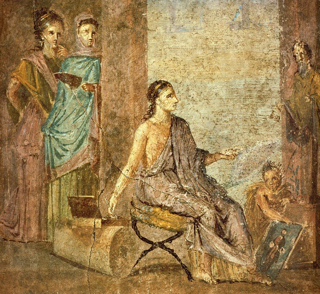ancient sculptures colors. Woman, painting a statue of Priapus. Roman fresco from the Casa del Chirurgo, 1st century BCE, Casa del Chirurgo, Pompeii, Italy