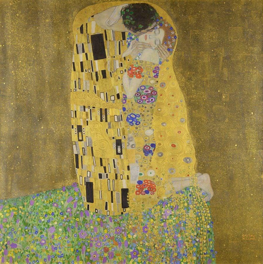 Gustav Klimt, The Kiss, 1907-8, Österreichische Galerie Belvedere, Belvedere Palace, Vienna, Austria.