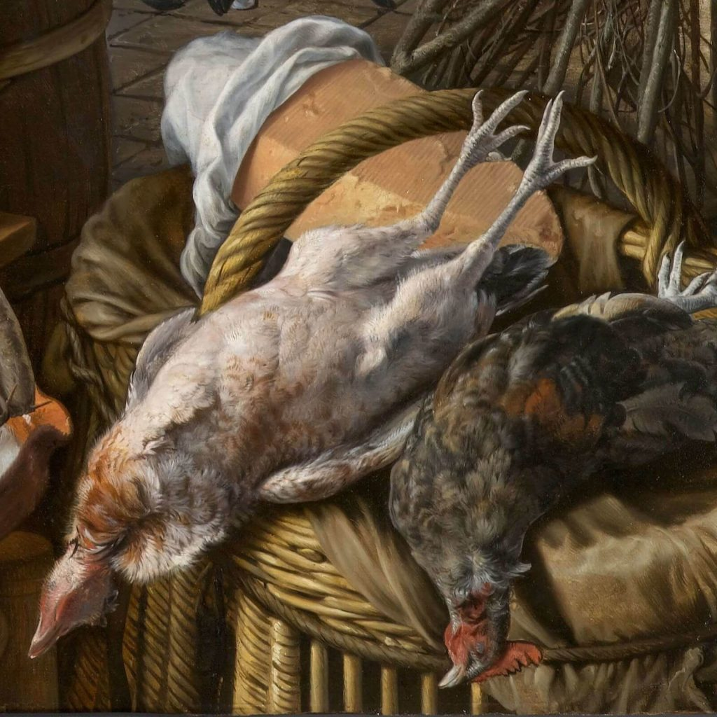 Pieter Aertsen, Meat Stall with the Holy Family Giving Alms, 1551, North Carolina Museum of Art, Raleigh, USA. Detail of Whole Chickens.