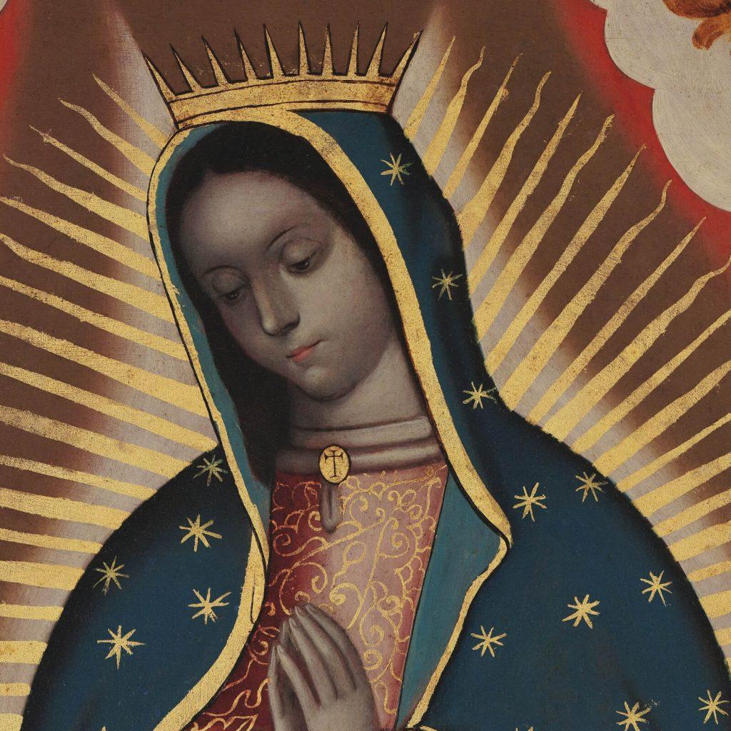 Sebastián Zalcedo, Virgin of Guadalupe, ca 1780, Museo Colección Blaisten, Mexico City, Mexico. Detail of Virgin's Head.