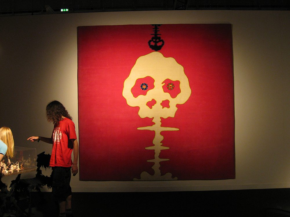Installation view: Takashi Murakami's work, 2009, Miami, FL, USA. Skull motif.
