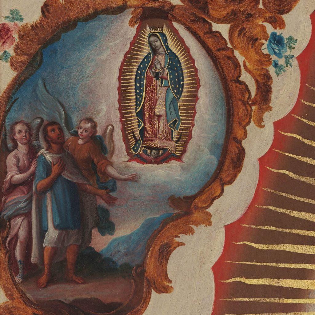 Sebastián Zalcedo, Virgin of Guadalupe, ca 1780, Museo Colección Blaisten, Mexico City, Mexico. Detail of Apparitions No. 1.