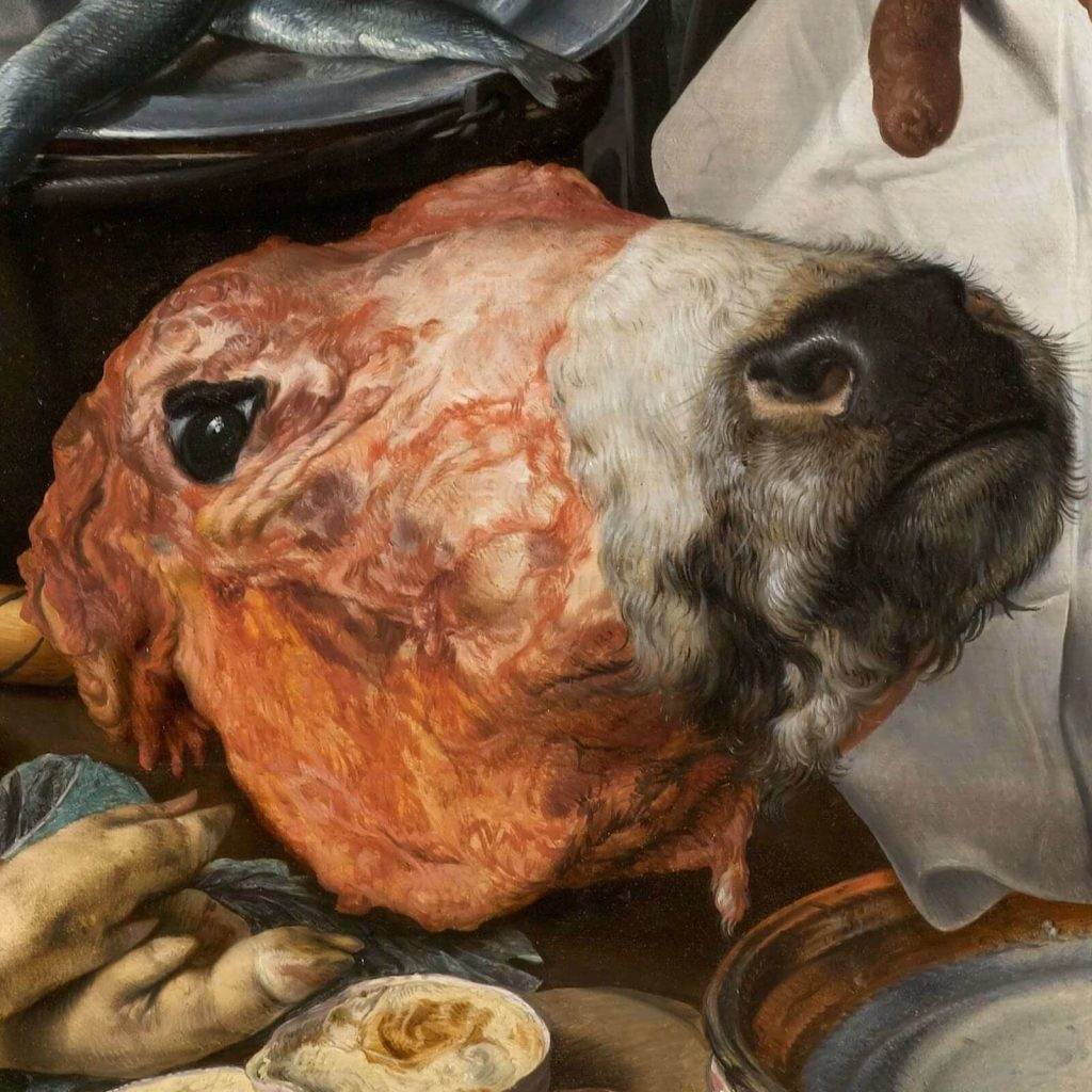Pieter Aertsen, Meat Stall with the Holy Family Giving Alms, 1551, North Carolina Museum of Art, Raleigh, USA. Detail of Cow's Head.