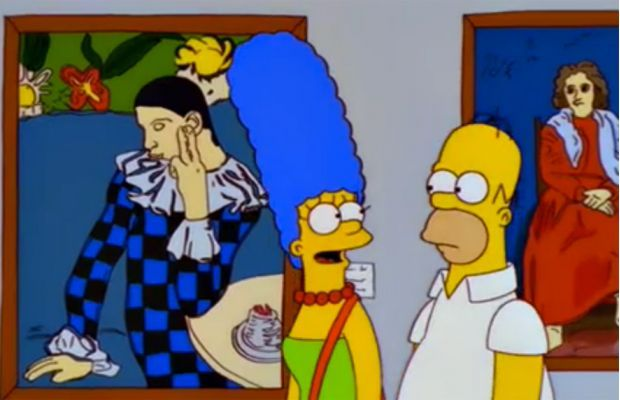 Art references to Pablo Picasso's Seated Harlequin and The Barefoot Girl in The Simpsons, S10E19.