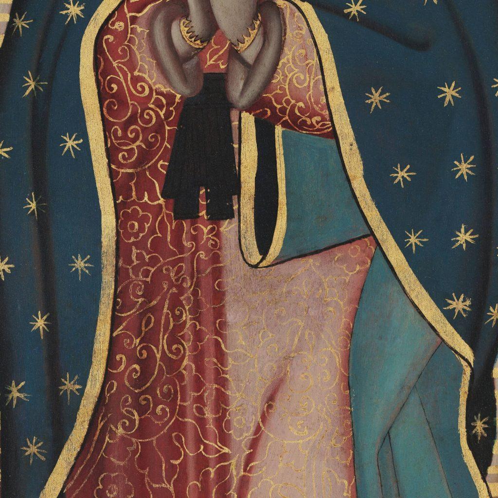 Sebastián Zalcedo, Virgin of Guadalupe, ca 1780, Museo Colección Blaisten, Mexico City, Mexico. Detail of Virgin's Hands.