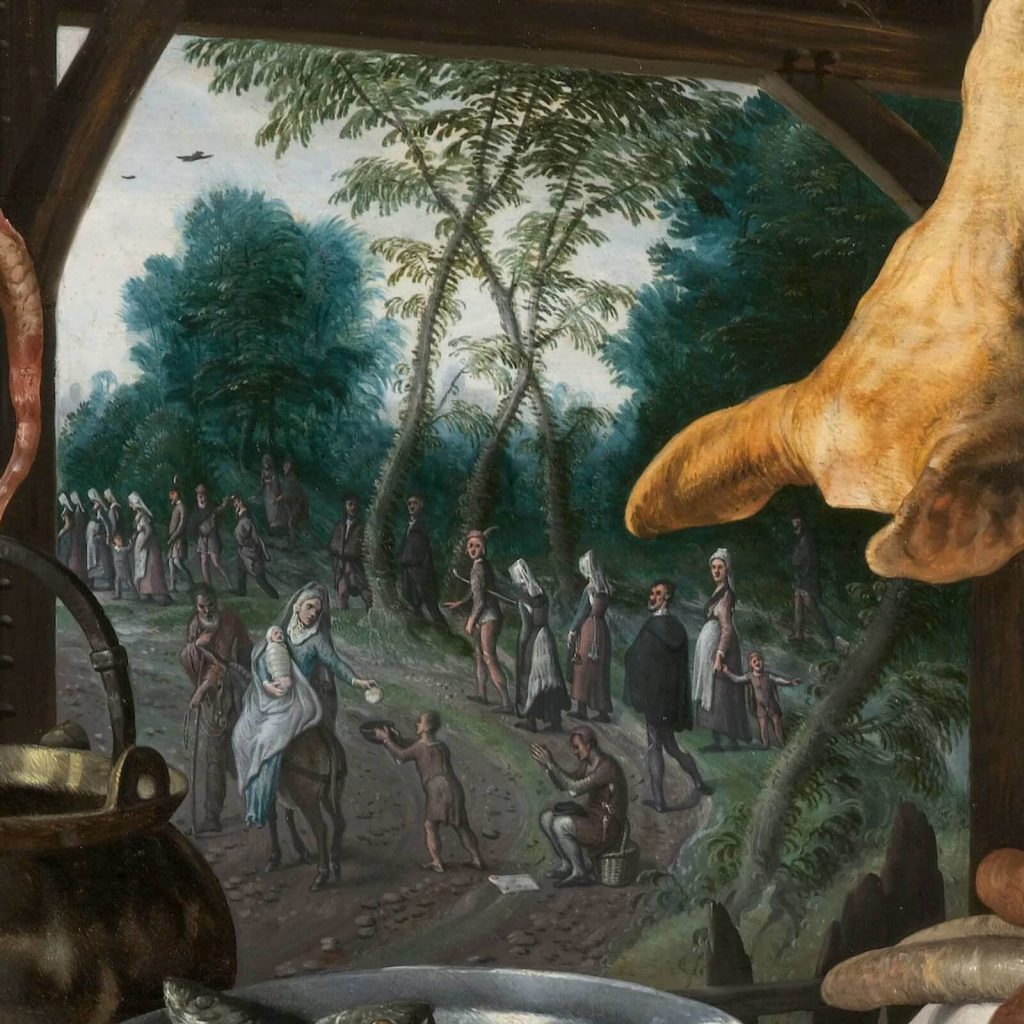 Pieter Aertsen, Meat Stall with the Holy Family Giving Alms, 1551, North Carolina Museum of Art, Raleigh, NC, USA. Detail.