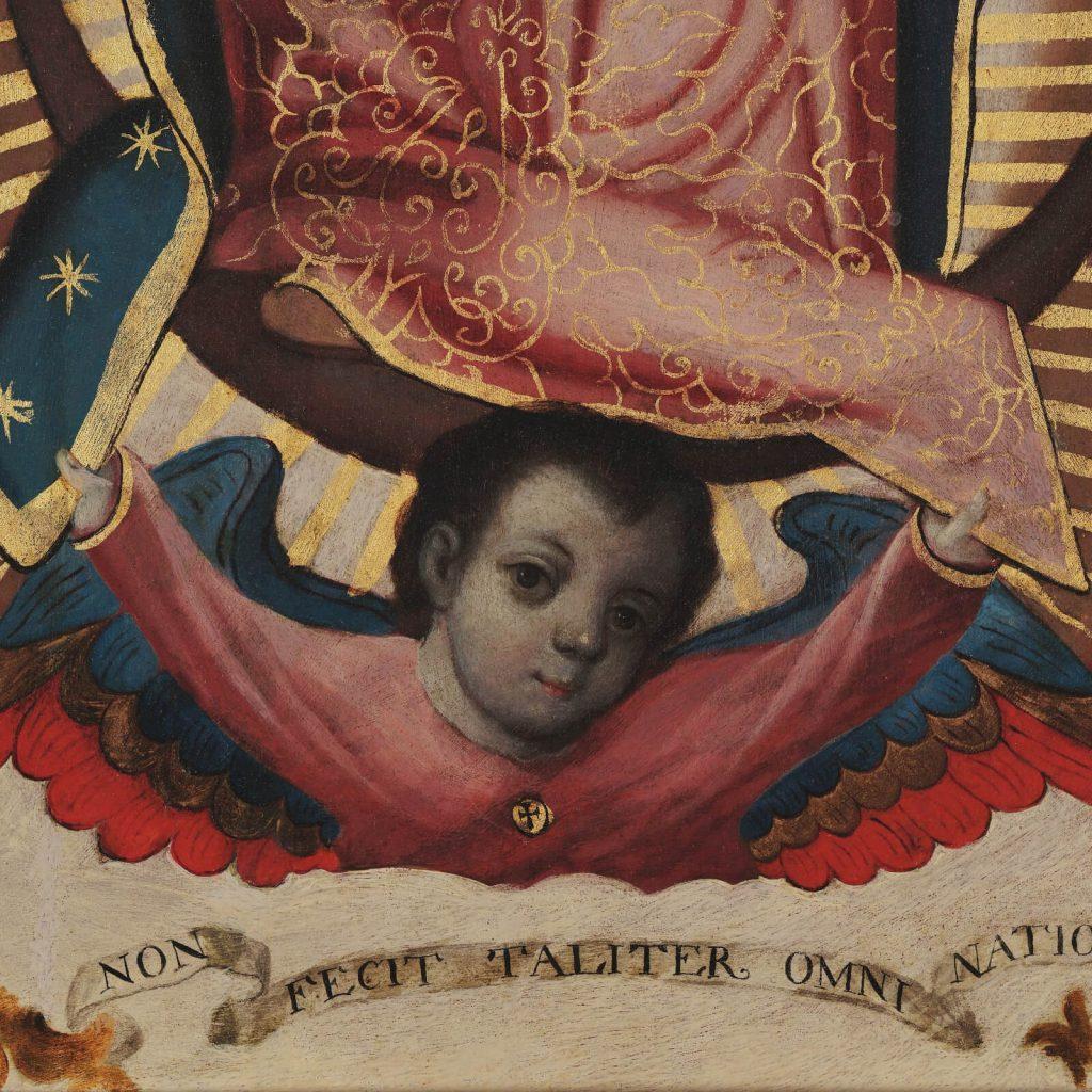 Sebastián Zalcedo, Virgin of Guadalupe, ca 1780, Museo Colección Blaisten, Mexico City, Mexico. Detail of Angel.