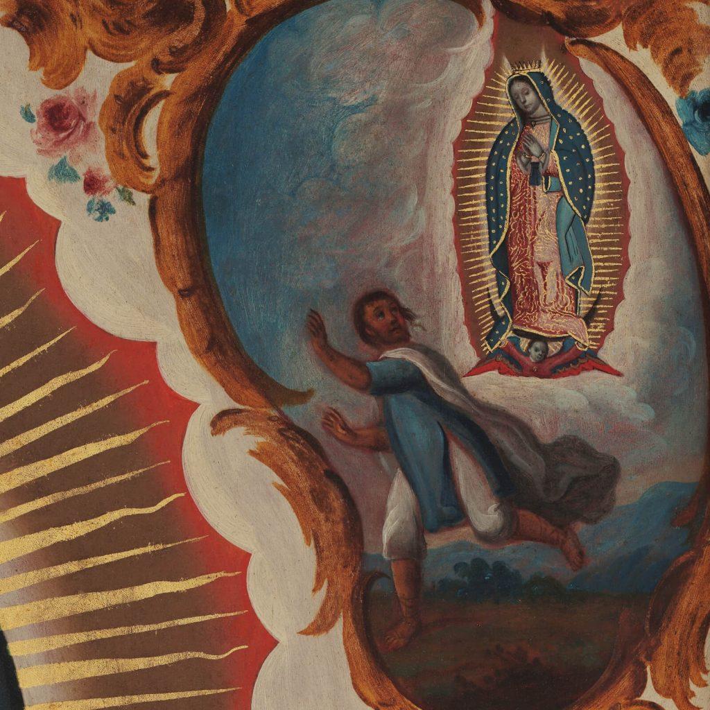 Sebastián Zalcedo, Virgin of Guadalupe, ca 1780, Museo Colección Blaisten, Mexico City, Mexico. Detail of Apparition No. 4.