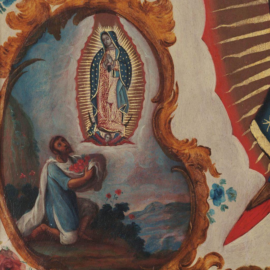 Sebastián Zalcedo, Virgin of Guadalupe, ca 1780, Museo Colección Blaisten, Mexico City, Mexico. Detail of Miraculous Flowers.