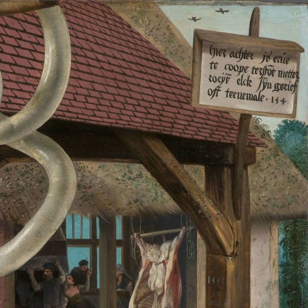 Pieter Aertsen, Meat Stall with the Holy Family Giving Alms, 1551, North Carolina Museum of Art, Raleigh, USA. Detail of Sign.