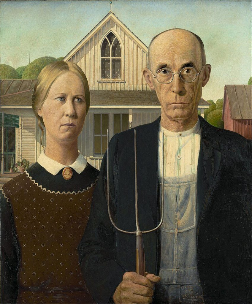 Grant Wood, American Gothic, 1930, Art Institute of Chicago, Chicago, IL, USA.