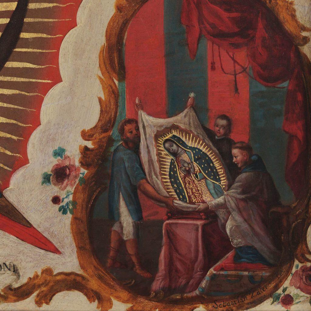 Sebastián Zalcedo, Virgin of Guadalupe, ca 1780, Museo Colección Blaisten, Mexico City, Mexico. Detail of Miraculous Image.