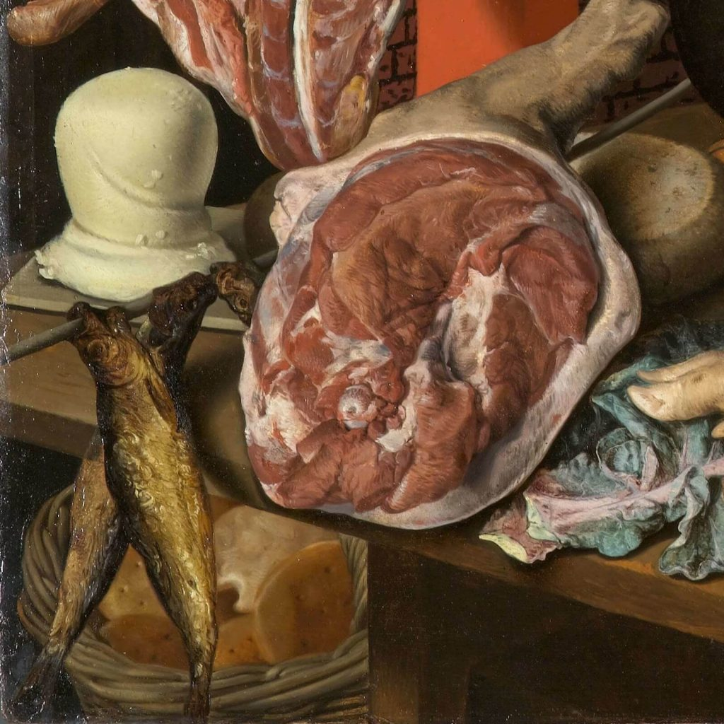 Pieter Aertsen, Meat Stall with the Holy Family Giving Alms, 1551, North Carolina Museum of Art, Raleigh, USA. Detail of Meat.