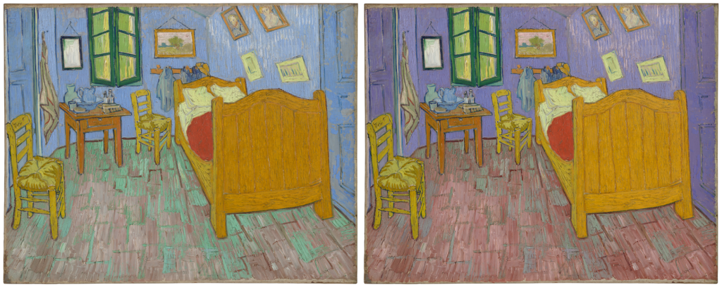 Mexican color. Left: Vincent Van Gogh, The bedroom, 1888, Art Institute of Chicago, Chicago, Il, USA. Right: Digital recolorized visualization by Roy S. Berns and Brittany Cox, Munsell Color Science Laboratory, Rochester Institute of Technology, and Kelly Keegan, Department of Conservation, the Art Institute of Chicago, Chicago, Il, USA.