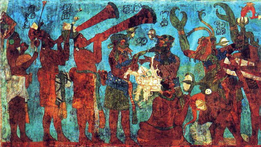 Mexican color. Bonampak mural. Room 1. Musicians and dancers, 8th century, Chiapas, Mexico.