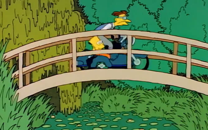 Art reference to Claude Monet's The Water-Lily Pond in The Simpsons, S01E11.