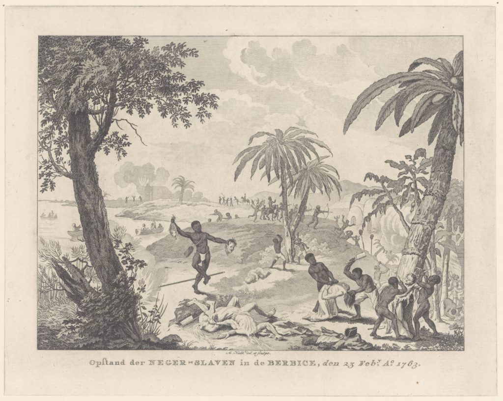 Review of the Slavery Exhibition at Rijksmuseum. Print depicting the uprising in Berbice, 23 February 1763, A. Hulk, c. 1763-1817. Images such as this haunted the imaginations of many a slaveholder in the 18th century. Rijksmuseum, Amsterdam, Netherlands.